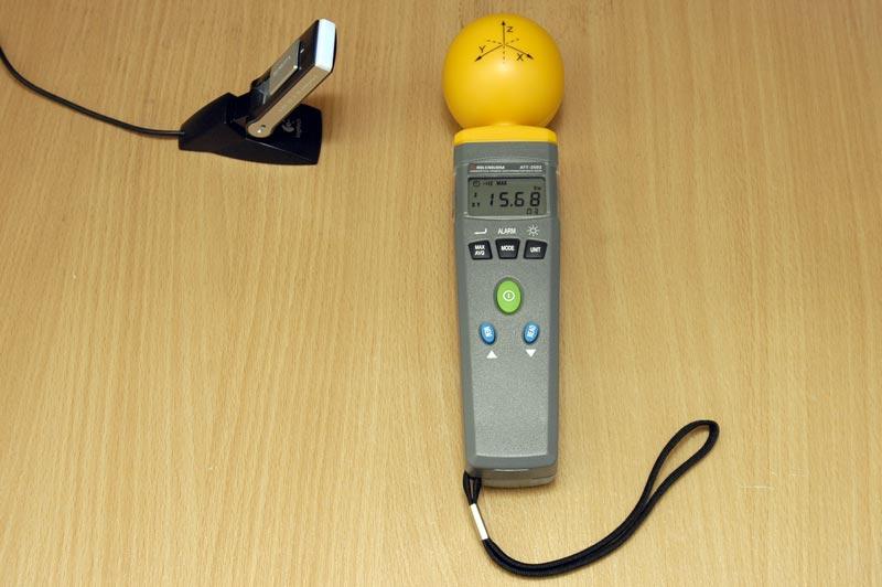 Измерение напряженности электрического поля Yota WiMax.  Максимальное значение составляет 15,68 В/м.